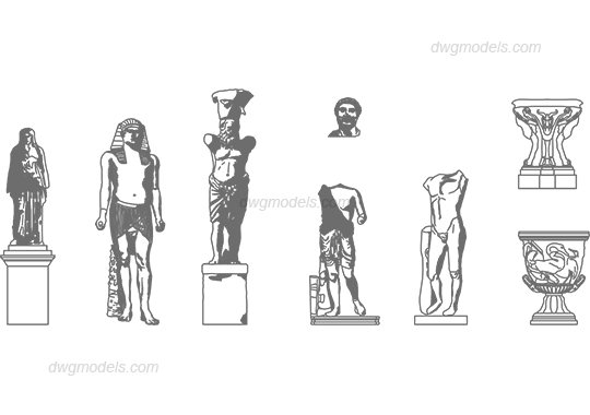 Statues 1 dwg, CAD Blocks, free download.