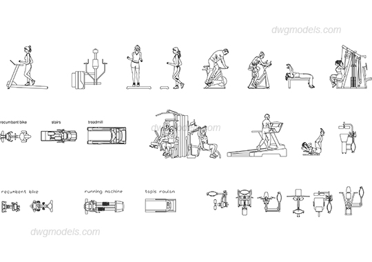 Gym equipment 2 dwg, CAD Blocks, free download.