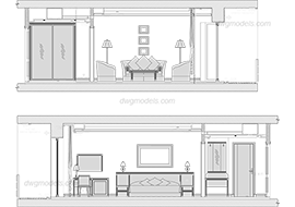 Hotel room Elevations 1 dwg, cad file download free.