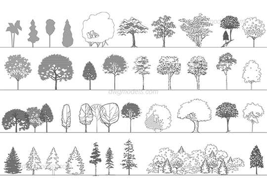 Trees 5 dwg, CAD Blocks, free download.
