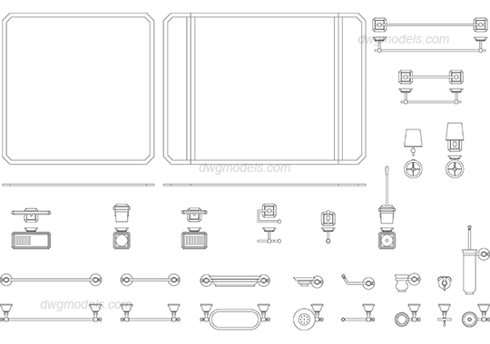 Accessories 3 dwg, CAD Blocks, free download.