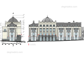 Facade 1 - DWG, CAD Block, drawing.