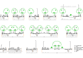 Section of the street 1 free dwg model