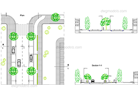Section of the street 3 free dwg model