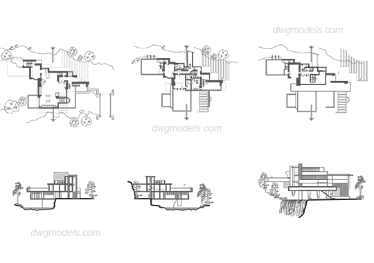 Frank Lloyd Wright fallingwater dwg, CAD Blocks, free download.