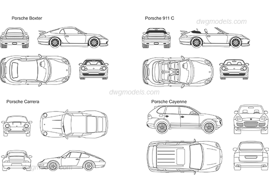 porsche 911 cad drawing porsche car