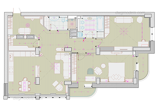 Apartment 1 dwg, CAD Blocks, free download.