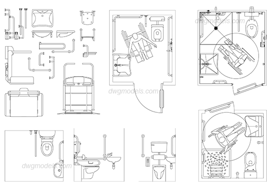 Disabled toilet 1 dwg free cad blocks download House plans for disabled people