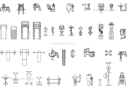Gym Equipment 3 Dwg Free Cad Blocks Download