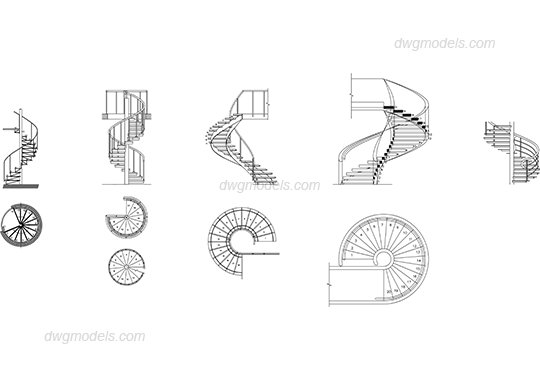 Spiral staircase DWG, free CAD Blocks download