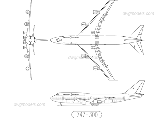 Boeing 747-300 dwg, CAD Blocks, free download.
