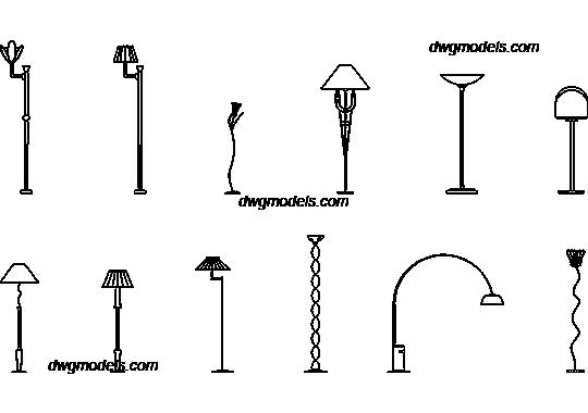 Floor lamps dwg free cad blocks download for Floor lamp cad block