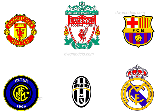Football club logos dwg, CAD Blocks, free download.