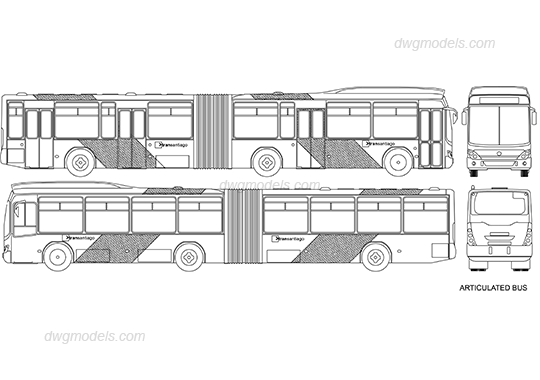 Articulated bus dwg, CAD Blocks, free download.