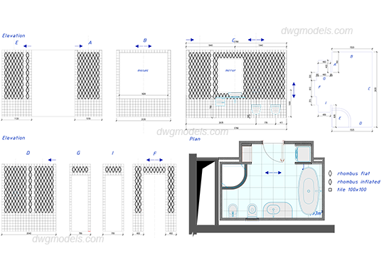 Bathroom dwg free cad blocks download for Online cad editor