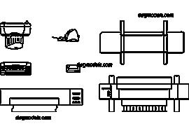 Printer - DWG, CAD Block, drawing.