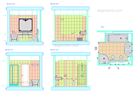 Bathroom 2 - DWG, CAD Block, drawing