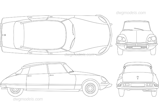 Citroen DS 1957 dwg, CAD Blocks, free download.