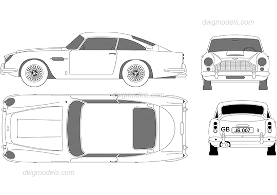 Aston Martin DB 5 1963 dwg, CAD Blocks, free download.