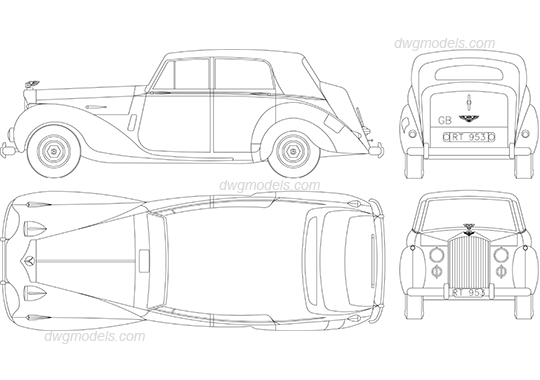 Bentley R Type 1952 dwg, CAD Blocks, free download.