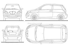 Lancia Ypsilon - DWG, CAD Block, drawing