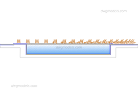 Section of the pool free dwg model