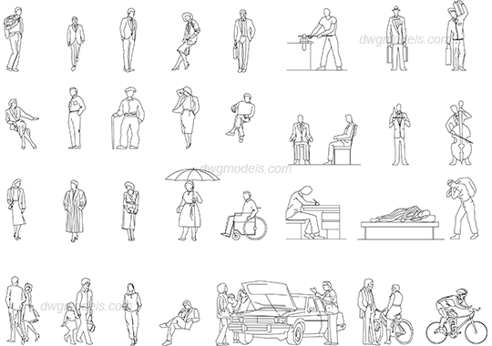 Casual people dwg, CAD Blocks, free download.
