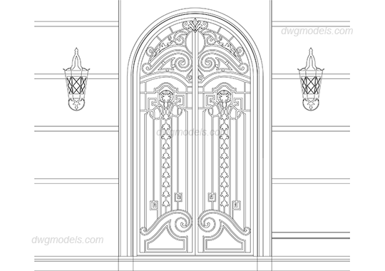 Wrought iron doors dwg, CAD Blocks, free download.