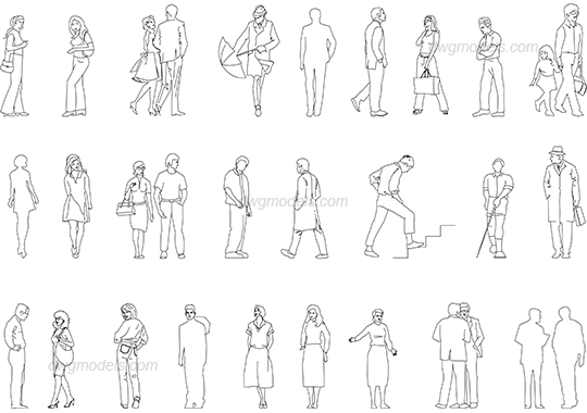 People outdoors dwg, CAD Blocks, free download.