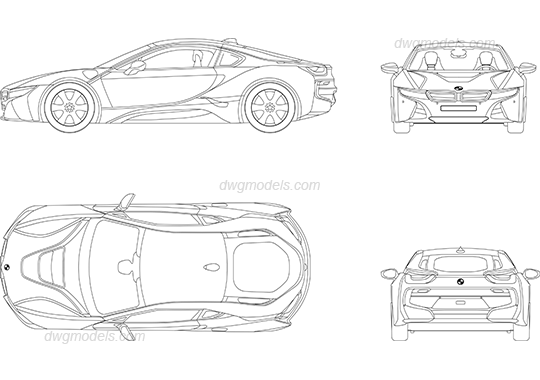 BMW i8 dwg, CAD Blocks, free download.