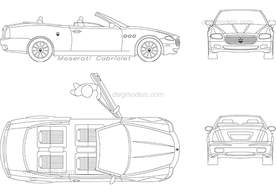 Maserati Cabriolet dwg, CAD Blocks, free download.
