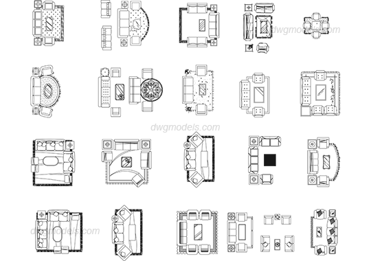 living room furniture symbols cad