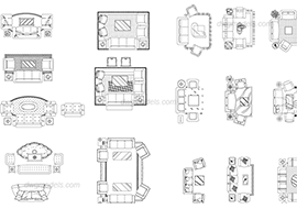 Living room furniture sets - DWG, CAD Block, drawing