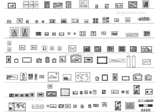 Picture frames 4 dwg, CAD Blocks, free download.