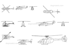 Helicopters - DWG, CAD Block, drawing.