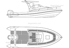 Motor boat dwg, cad file download free.