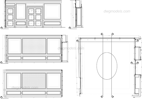 Wood panels dwg, CAD Blocks, free download.