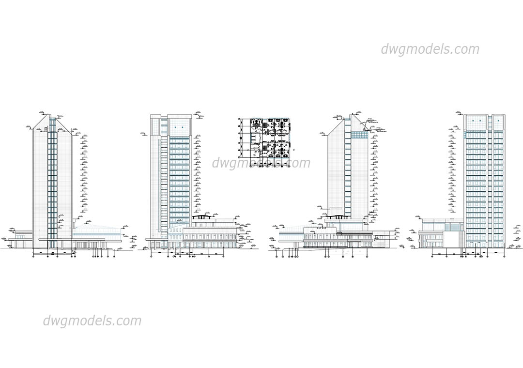 Hotel elevation dwg, CAD Blocks, free download.