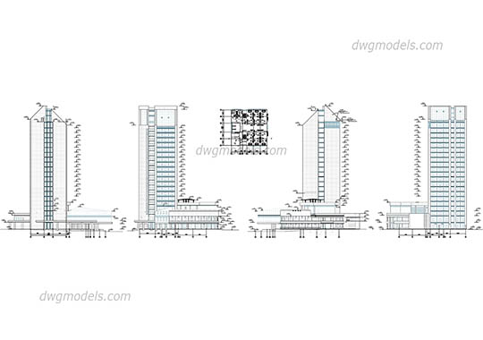 Hotel elevation free dwg model