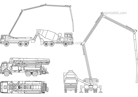 Concrete pump trucks - DWG, CAD Block, drawing