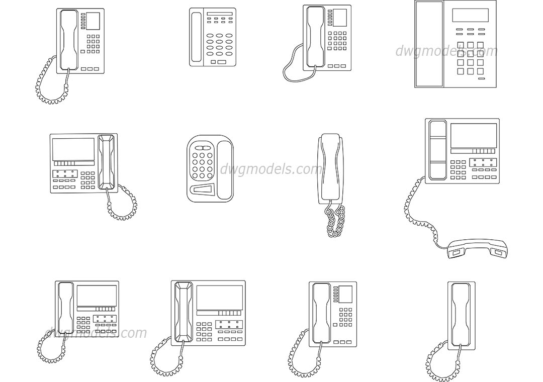 Phones dwg, CAD Blocks, free download.