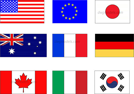 The most famous flags dwg, cad file download free.