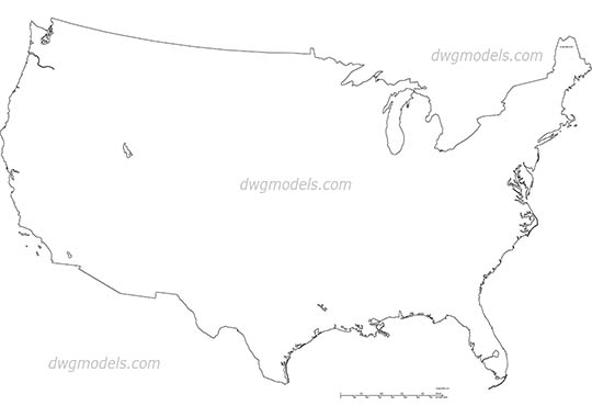 USA map - DWG, CAD Block, drawing.