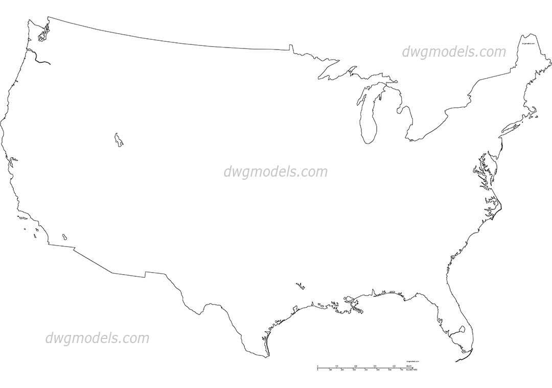 USA map dwg, CAD Blocks, free download.