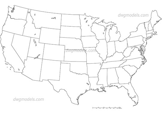 USA map DWG, free CAD Blocks download