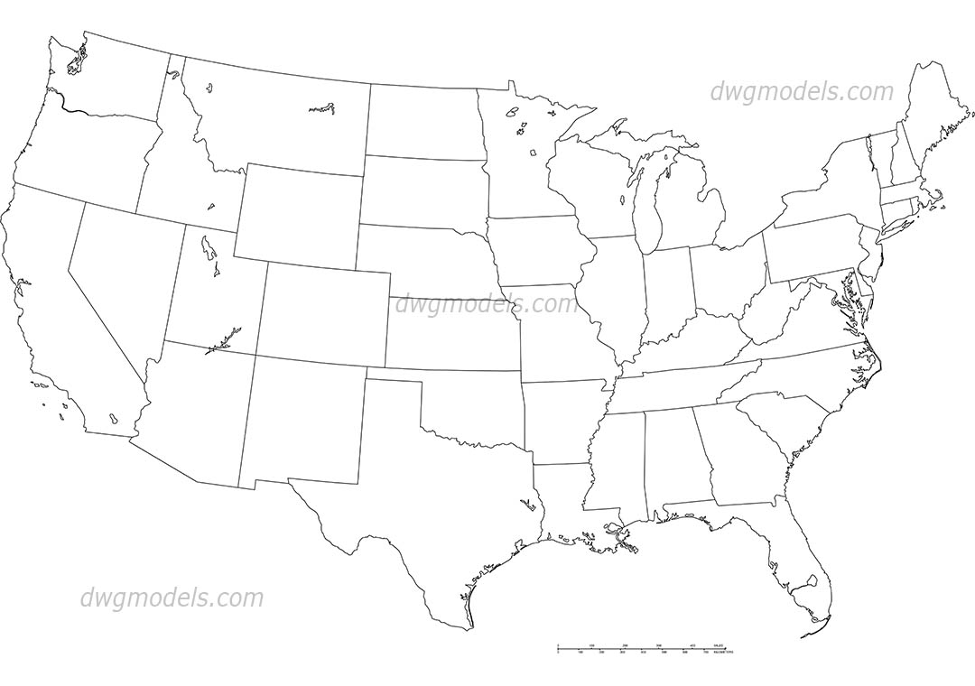 America United States map dwg, CAD Blocks, free download.