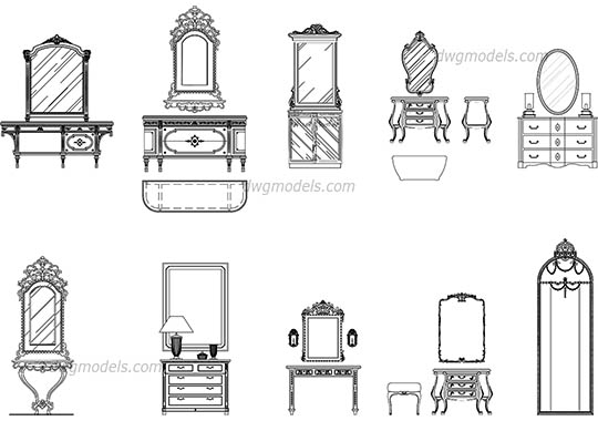 Mirrors and dressers dwg, cad file download free