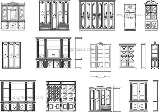 Bookcases elevation, front dwg, cad file download free