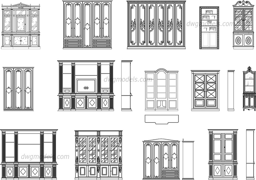 Front Elevation Autocad File Free Download : Bookcases elevation front dwg free cad blocks download