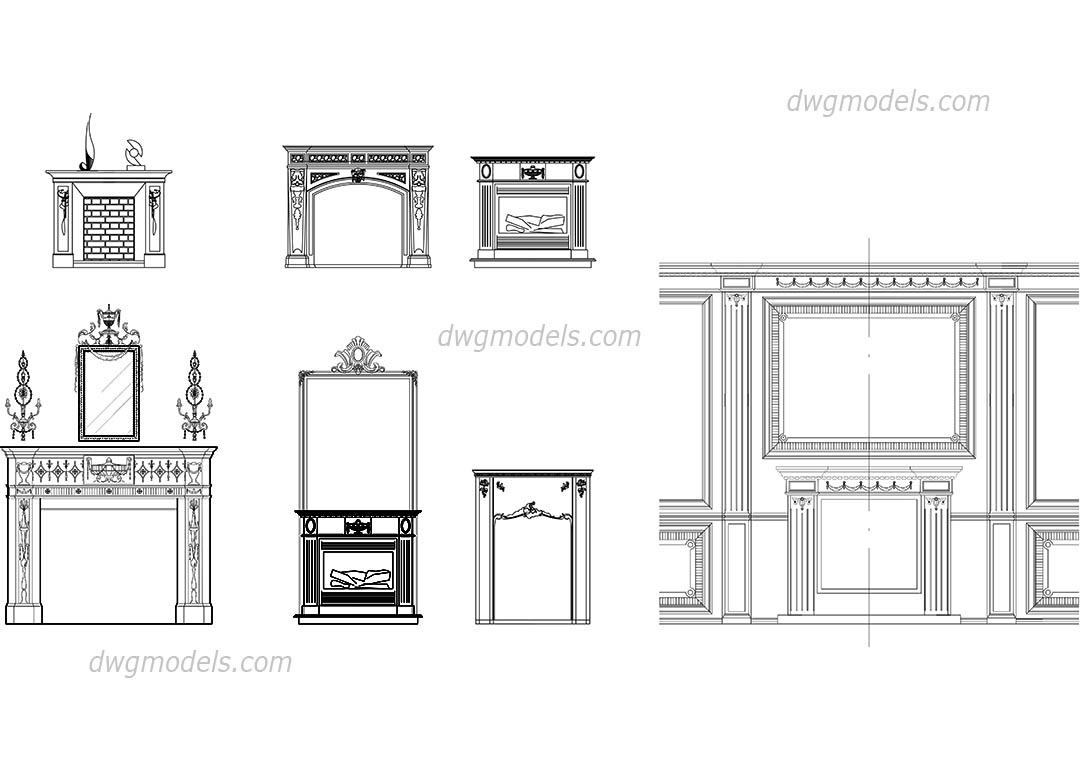 Fireplaces front dwg, CAD Blocks, free download.